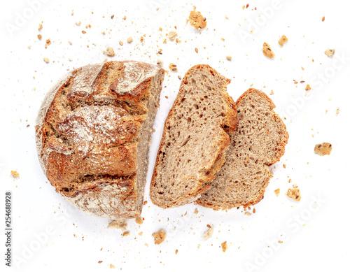 Carta da parati Sliced bread isolated on  white background