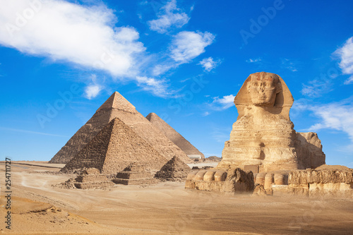 Fototapeta General view of pyramids with Sphinx
