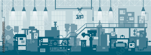 Valokuva Creative vector illustration of factory line manufacturing industrial plant scen interior background