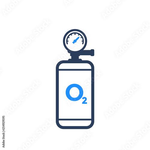 Photo oxygen tank icon on white