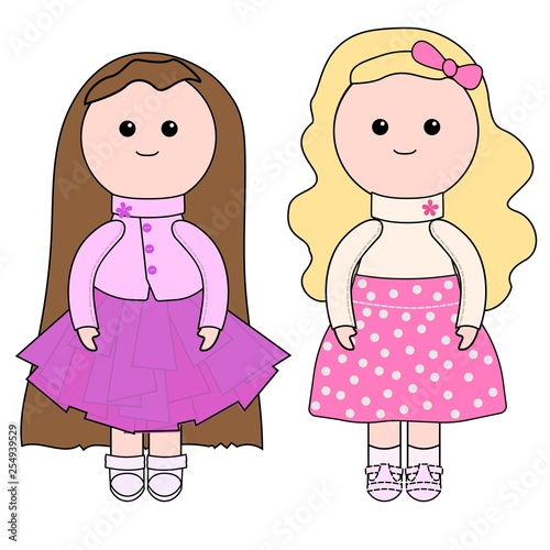 Two dolls tilde. Cute plush toy doll. Dolls for baby girl Fototapeta