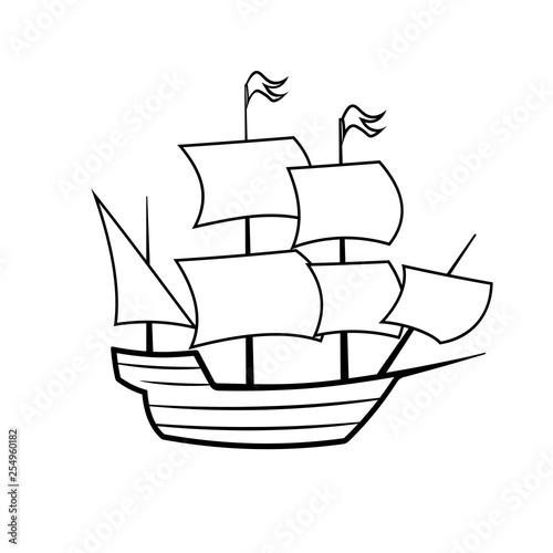 Fotomural Mayflower ship outline icon
