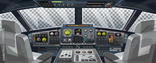 Fotografie, Tablou Airplane cockpit view with control panel buttons and transparent background on window view