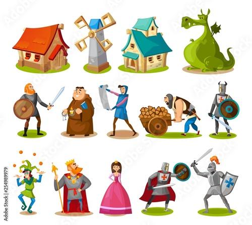 Kolekcja średniowiecznych postaci i budynków. Rycerze z kreskówek, księżniczka, król, smok, budynki itp. Obiekty wektorowe bajki.