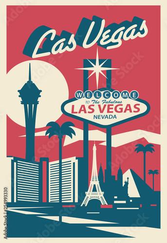 Canvas Print Las Vegas Nevada skyline postcard