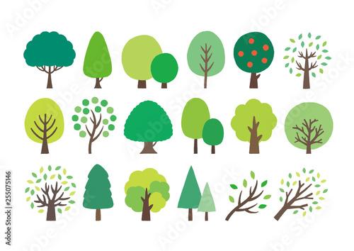 緑の木手描きセット