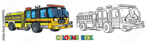 Fotografia, Obraz Fire truck or fire engine with eyes Coloring book