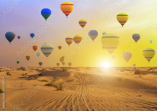Obraz na plátně Hot air balloons sunset sand desert