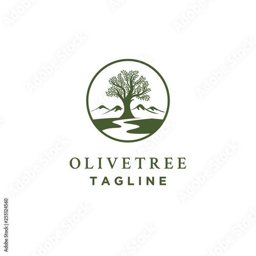 olive tree logo designs with creeks or rivers symbol Fotobehang
