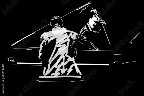 Carta da parati White silhouette of pianist and bass player on black background