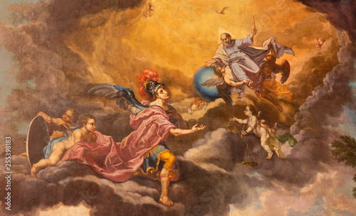 Foto PALMA DE MALLORCA, SPAIN - JANUARY 27, 2019: The painting of God the Creator and St