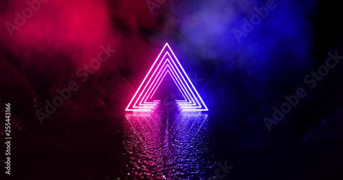 Fototapeta Wet asphalt, neon light reflected on a wet surface, arch, light triangle, pyramid abstract light, smoke, smog