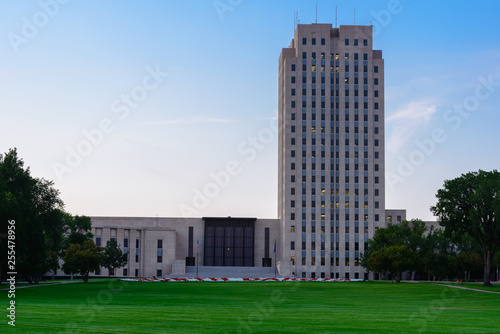 Canvas Print North Dakota state Capitol building in the afternoon with lights on