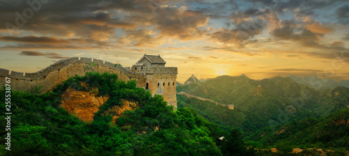 Fotografie, Tablou Sunset on the great wall of China,Jinshanling