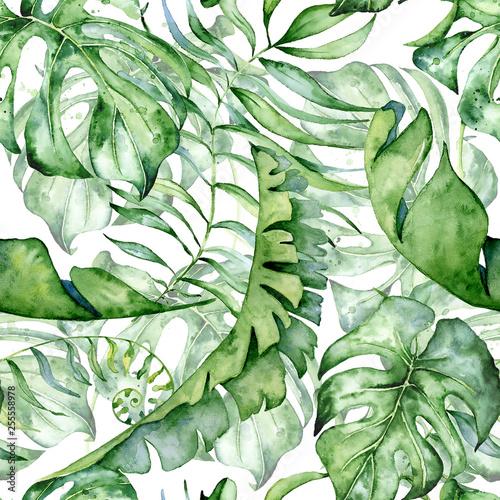 Fototapeta Tropical watercolor seamless pattern with green