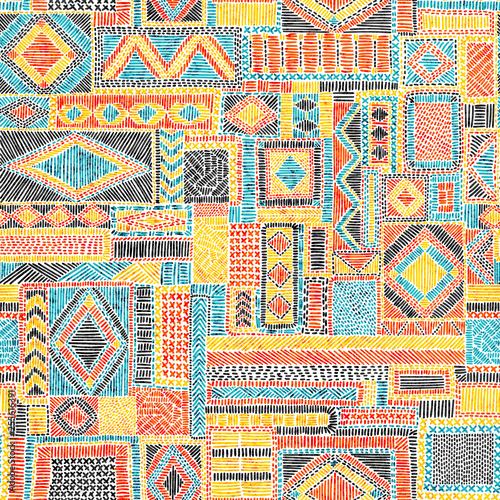 Fototapeta Embroidered seamless pattern