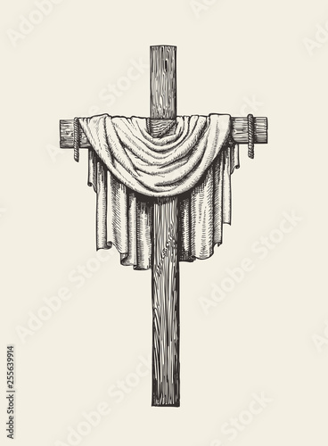 Fotografia, Obraz Crucifix, cross and shroud hand drawn
