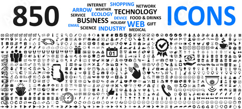 Big set icons: business, shopping, device, technology, medical, ecology, food & drink and many more for any cases of life using – stock vector