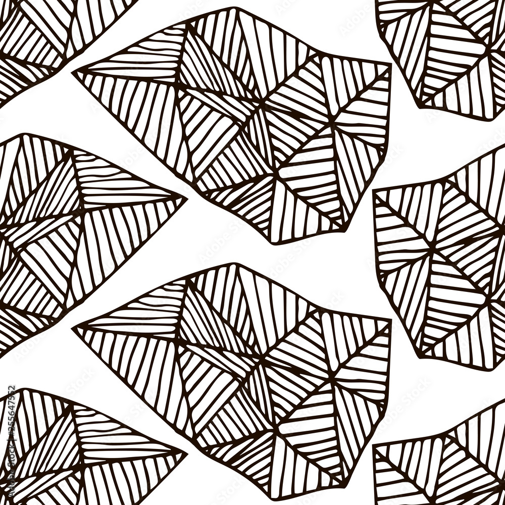 Abstract seamless pattern with doodle triangles, hand drawn black and white geometrical thin line background. Vector illustration.
