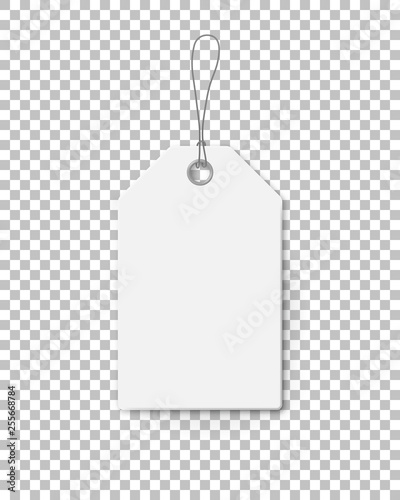 Realistic mock up price tag for sale campaign. White paper label template with corrugated texture isolated on transparent background. Production promotion and announcement vector illustration.