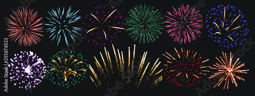 Canvas Print Firework vector background isolated set
