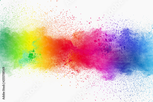 Fototapeta Colorful powder explosion on white background