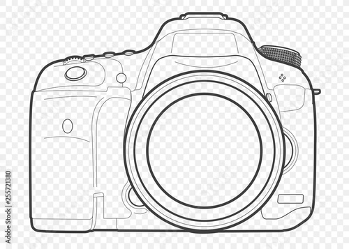 Fotografía Outline vector illustration of reflex slr camera with lens in front, drawn with