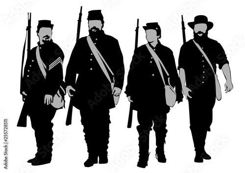 Leinwand Poster American soldiers in uniform of civil war times on white background