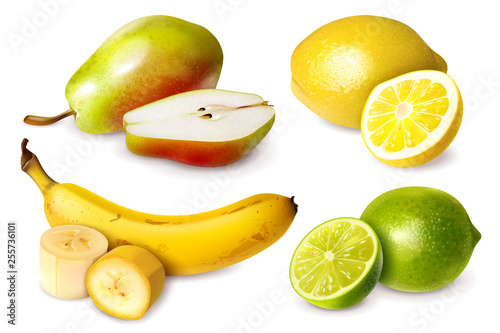Wall mural Set of four fruits in realistic style