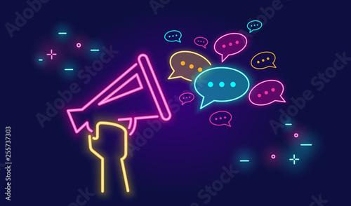 Fényképezés Megaphone shouting out with speech bubbles banner for social networks in neon li