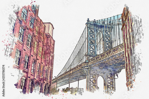 Obraz na płótnie Watercolor sketch or illustration of a beautiful view of the Brooklyn Bridge and