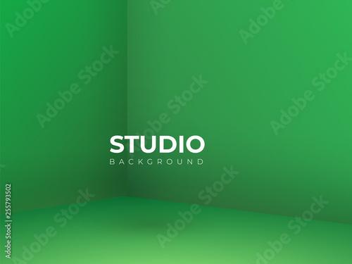 Leinwand Poster Vector,Empty vivid lighting green studio room background ,Template mock up for d