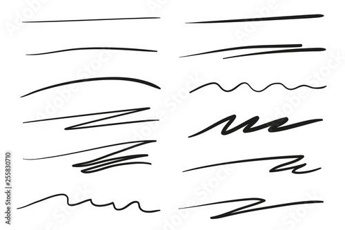 Stampa su Tela Hand drawn underlines on white