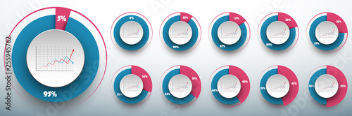 Fotografia Pie chart set from 0 to 50/50 percents ready to use for web design, user interface (UI) or infographic