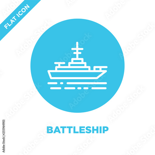 Fotomural battleship icon vector from military collection