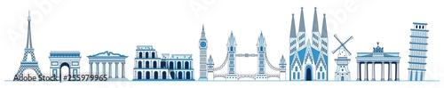 Fotografie, Obraz Line art set of European monuments and landmarks, Eiffel tower, Triumphal Arch, Parthenon, Leaning Tower of Pisa, Tower Bridge, Sagrada Familia, Brandenburg gate, Elizabeth Tower, vector
