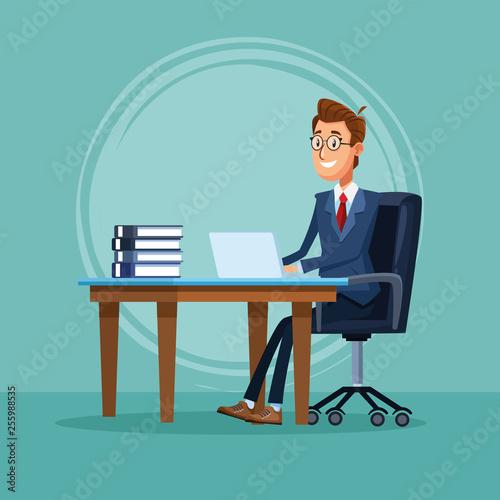 Businessman banker cartoon Tapéta, Fotótapéta