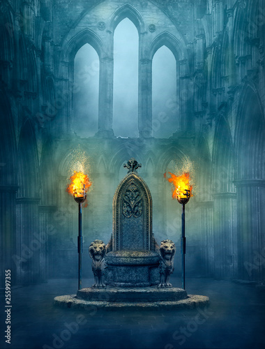 Fototapeta Fantasy medieval scene with a throne and tourches