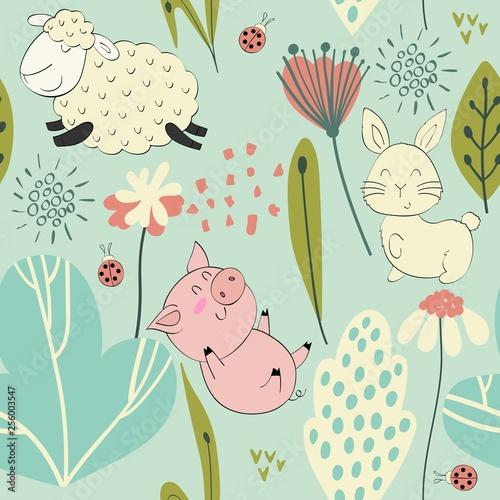 Naklejki na drzwi dla chłopca z owieczkami