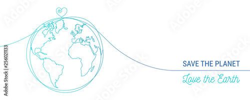 hand drawn save the world concept, world heart doodle #256021133