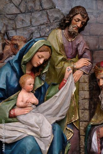 Fotografie, Tablou Nativity Scene, altarpiece in the church of Saint Matthew in Stitar, Croatia