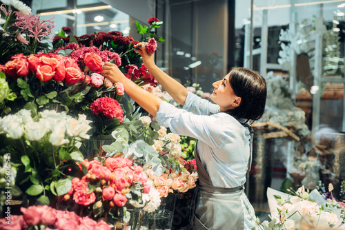 Female florist selects flowers for making bouquet