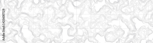 Fotografiet Ultra Wide Wallpaper Abstract Blank Topographic Contour Map Subtle White Vector Background