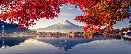 Kolorowy sezon jesienny i górskie Fuji z poranną mgłą i czerwonymi liśćmi nad jeziorem Kawaguchiko to jedno z najlepszych miejsc w Japonii