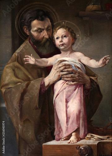 Saint Joseph holding child Jesus, altarpiece in chapel in Hinterbrand, Germany Fototapete