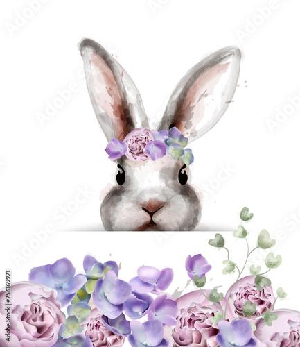 Cuadros en Lienzo Bunny rabbit with flowers Vector watercolor