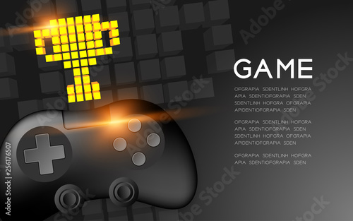Valokuva Gamepad or joypad black color with Gold Trophy Cup pixel icon, Game winner conce