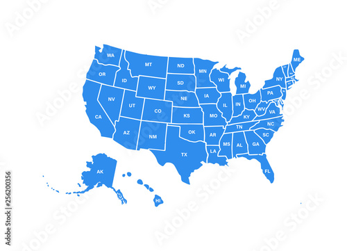 Blank similar USA map isolated on white background. United States of America usa country. Vector template usa for website, design, cover, infographics. Graph illustration.