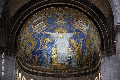 Tableau sur Toile Christ in Majesty is surrounded by the Virgin Mary, Joan of Arc and St