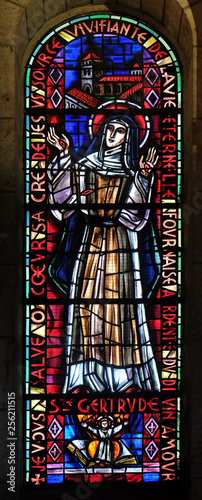 Photo Saint Gertrude the Great or Saint Gertrude of Helfta, stained glass window in Ba
